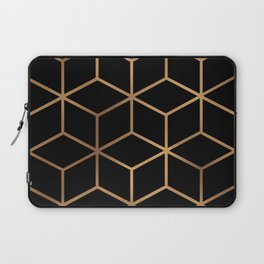 Black and Gold - Geometric Cube Design Laptop Sleeve
