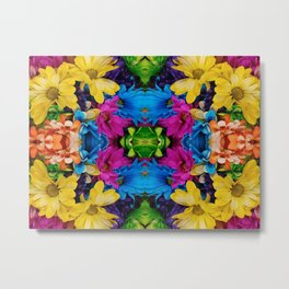 Hugging Colored Flowers (Mandala #121c) Metal Print