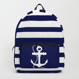 AFE Navy & White Anchor and Chain Backpack