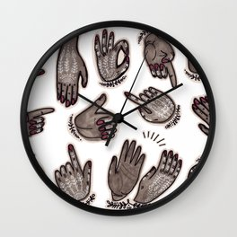 hand gestures and white henna tattoo Wall Clock