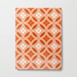 Shippo with Flower Motif, Mandarin Orange Metal Print