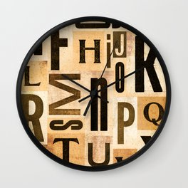 Vintage Typeset Composition Wall Clock