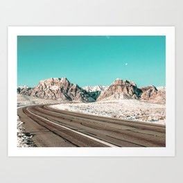 Vintage Desert Road Trip // Red Rock Canyon Las Vegas Landscape Roadtrip Photograph Art Print
