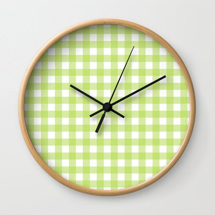 Green gingham pattern Wall Clock
