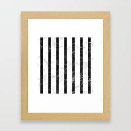 marble vertical stripe pattern - white marble black marble Framed Art Print