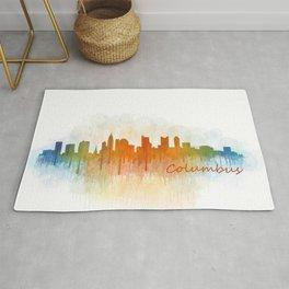 Columbus Ohio, City Skyline, watercolor  Cityscape Hq v3 Rug