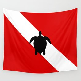 Diving Flag: Sea Turtle Wall Tapestry