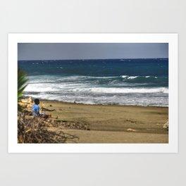 Boy contemplating the endless waves - Beach PR Art Print