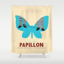 Papillon, Steve McQueen vintage movie poster, retrò playbill, Dustin Hoffman, hollywood film Shower Curtain
