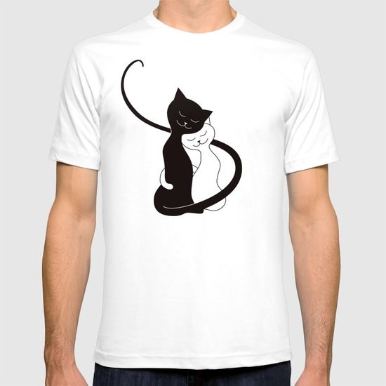 White and black cats in love red t shirt by boriana for Black white red t shirt
