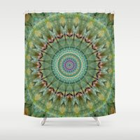 malachite Shower Curtains featuring Mandala green malachite by Christine baessler