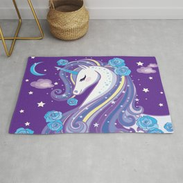 Magical Unicorn in Purple Sky Rug
