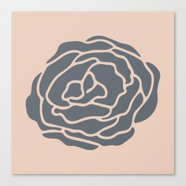 Minimalist Flower Navy Gray on Blush Pink Canvas Print