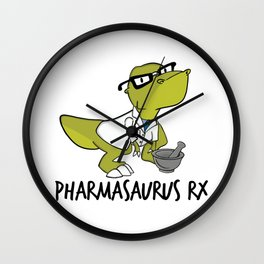 Pharmasaurux Rx - Pharmacy Dinosaur Wall Clock