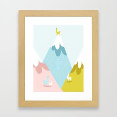 Cute Little Alpacas on the Mountains Framed Art Print