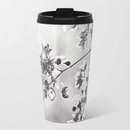 Black and White Floral Photography, Grey Neutral Nature Art, Light Gray Botanical Flower Photo Travel Mug