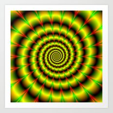 Spiral in Yellow Red and Green Art Print