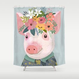 Pig with floral crown, farm animal Shower Curtain