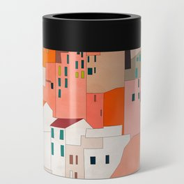 italy coast houses minimal abstract painting Can Cooler
