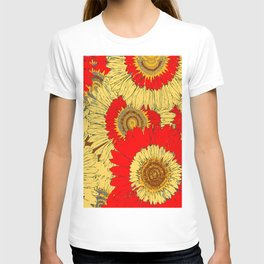 Abstracted  Red Yellow Art Deco Sunflowers T-shirt