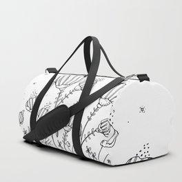 Black Doodle Flowers Art Illustration Duffle Bag