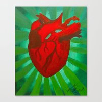 anatomical heart Canvas Prints featuring Anatomical Heart by Vanessa Cirillo