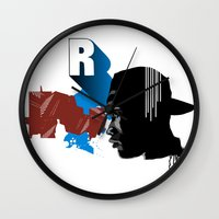 rap Wall Clocks featuring Rap by David Navascues
