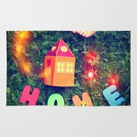home sweet home Area & Throw Rugs featuring HOME by Julia Kovtunyak