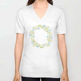 Hawaiian Watercolor Blue Plumeria Wreath Unisex V-Neck