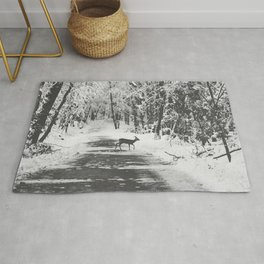 Young Roe Deer in a Winter Snow Forest Rug