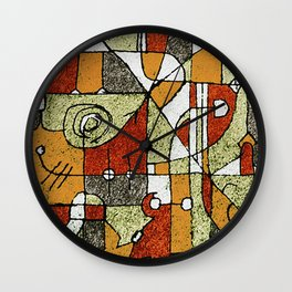 Multicolored Abstract Tribal Print Wall Clock