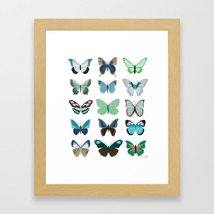Green and Blue Butterflies Framed Art Print