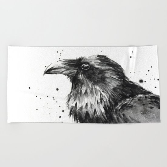 Raven Watercolor Bird Animal Beach Towel