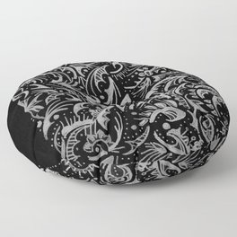 Silver Hand-Drawn Floral-Leaf Floor Pillow