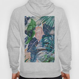 Tropical forest blue pink green beige tropical leaves Hoody