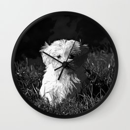 maltese dog vector art black white Wall Clock