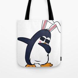 Penguin Rabbit Ears Dab Dabbing Easter Gift Tote Bag