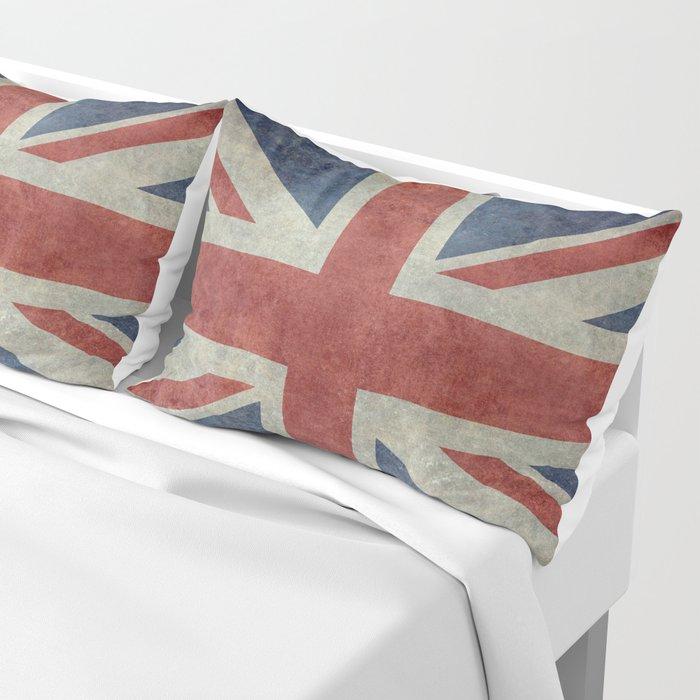 UK Flag, Dark grunge 1:2 scale Pillow Sham