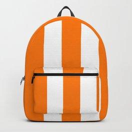 Heat Wave orange - solid color - white vertical lines pattern Backpack