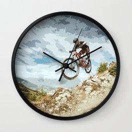 Flying Downhill on a Mountain Bike Wall Clock