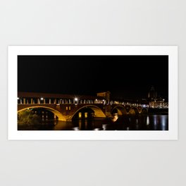 Night photography of the Ponte Coperto of Pavia, historical building also called Ponte Vecchio built Art Print
