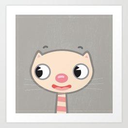 Kitty Grey Background Art Print