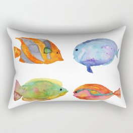 Watercolor Colorful Tropical Fish Rectangular Pillow