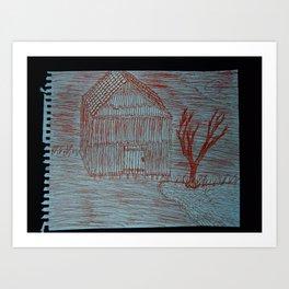 Zoe's Art Stuff - Shack Tree and Sun Moon Art Print