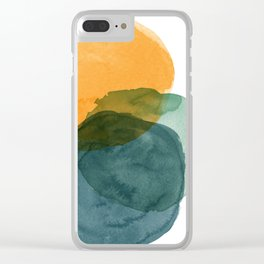 Watercolor Circles in Autumn Shades of Mustard and Teal Clear iPhone Case