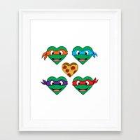 ninja turtle Framed Art Prints featuring Ninja Turtle Hearts by Sam Skyler