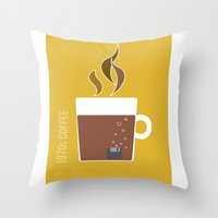 70s Throw Pillows featuring 70s Coffee by Morgane Cazaubon