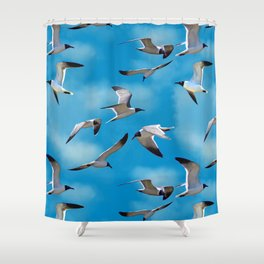 Seagulls in the Clouds Shower Curtain
