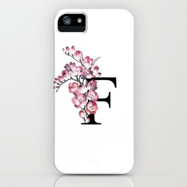 Letter 'F' Freesia Flower Typography iPhone Case