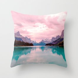 Mountains in Violet Pink Blue Throw Pillow